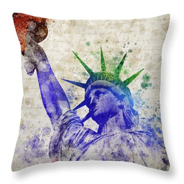 Statue Of Liberty Throw Pillow by Aged Pixel