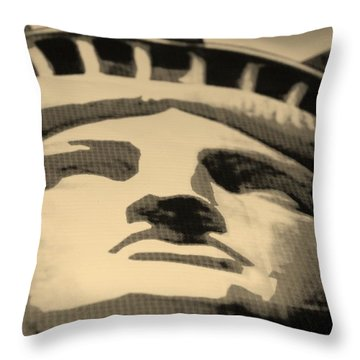 Statue Of Liberty In Sepia Throw Pillow by Rob Hans