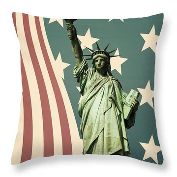 Statue Of Liberty Throw Pillow by Juli Scalzi