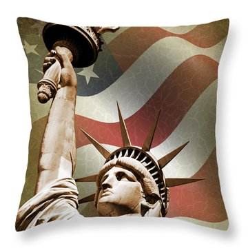 Statue Of Liberty Throw Pillow by Mark Rogan