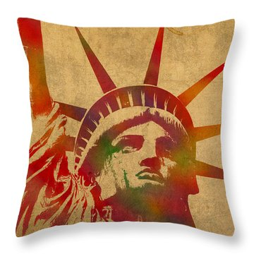 Statue Of Liberty Watercolor Portrait No 2 Throw Pillow by Design Turnpike