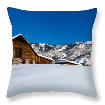 Steamboat Springs Barn Throw Pillow by Teri Virbickis