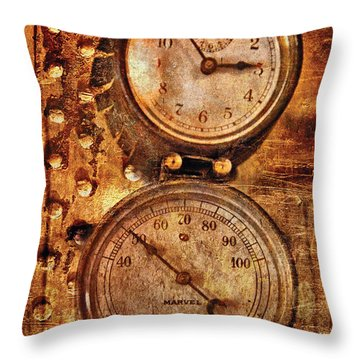Steampunk - Gauges Throw Pillow by Mike Savad