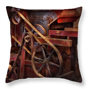 Steampunk - Gear - Belts And Wheels  Throw Pillow by Mike Savad
