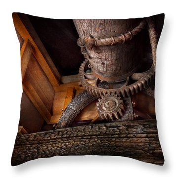 Steampunk - Gear - Out Of Order  Throw Pillow by Mike Savad