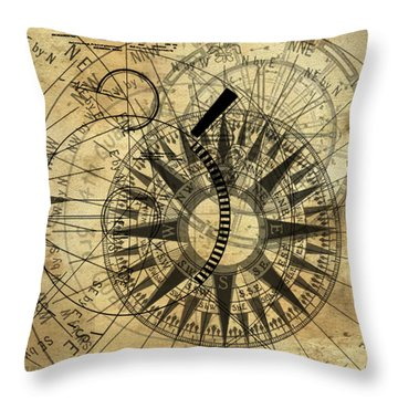 Steampunk Gold Compass Throw Pillow by James Christopher Hill