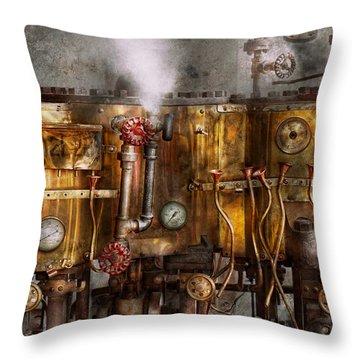 Steampunk - Plumbing - Distilation Apparatus  Throw Pillow by Mike Savad