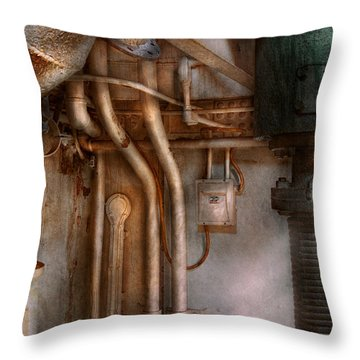 Steampunk - Plumbing - Industrial Abstract  Throw Pillow by Mike Savad