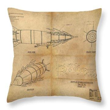 Steampunk Zepplin Throw Pillow by James Christopher Hill