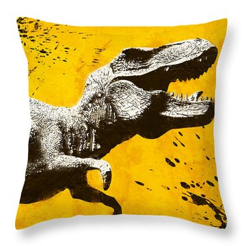 Stencil Trex Throw Pillow by Pixel Chimp