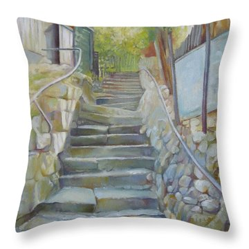 Step By Step Throw Pillow by Elena Oleniuc