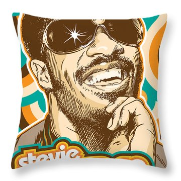 Stevie Wonder Pop Art Throw Pillow by Jim Zahniser