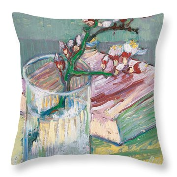 Still Life    A Flowering Almond Branch Throw Pillow by Vincent Van Gogh