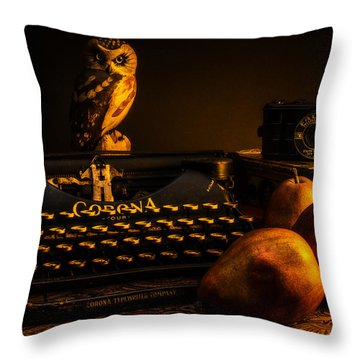 Still Life - Pears And Typewriter Throw Pillow by Jon Woodhams