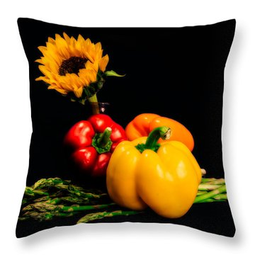 Still Life Peppers Asparagus Sunflower Throw Pillow by Jon Woodhams