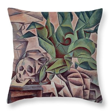 Still Life Showing Skull Throw Pillow by Kubista Bohumil