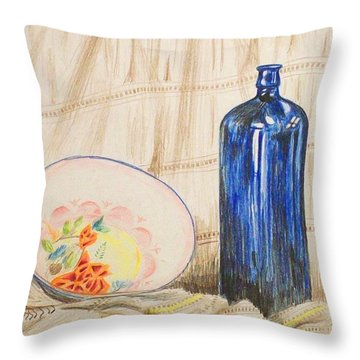 Still-life With Blue Bottle Throw Pillow by Alan Hogan