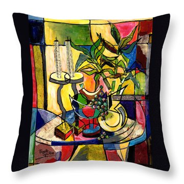 Still Life With Fruit Candles And Bamboo Throw Pillow by Everett Spruill