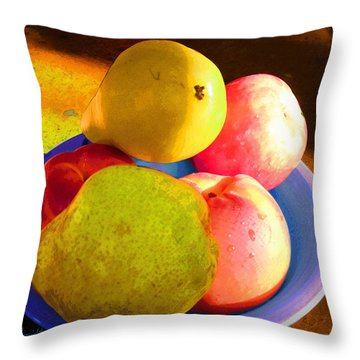 Still Life With Fruit Throw Pillow by Ginny Schmidt