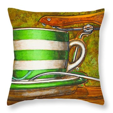 Still Life With Green Stripes And Saddle  Throw Pillow by Mark Howard Jones