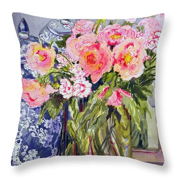 Still Life With Two Blue Ginger Jars Throw Pillow by Joan Thewsey
