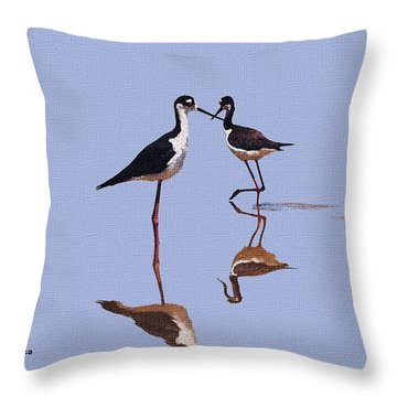 Stilts In The Blue Throw Pillow by Tom Janca