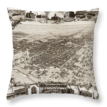 Stockton San Joaquin County California  1895 Throw Pillow by California Views Mr Pat Hathaway Archives