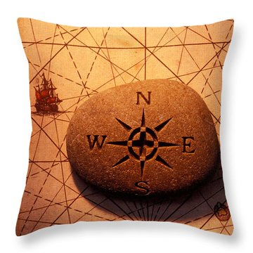 Stone Compass On Old Map Throw Pillow by Garry Gay