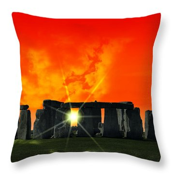 Stonehenge Solstice Throw Pillow by Daniel Hagerman