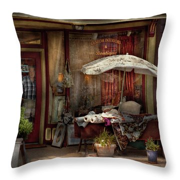 Storefront - Frenchtown Nj - The Boutique Throw Pillow by Mike Savad