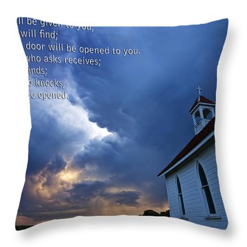 Storm Clouds And Scripture Matthew Country Church Throw Pillow by Mark Duffy