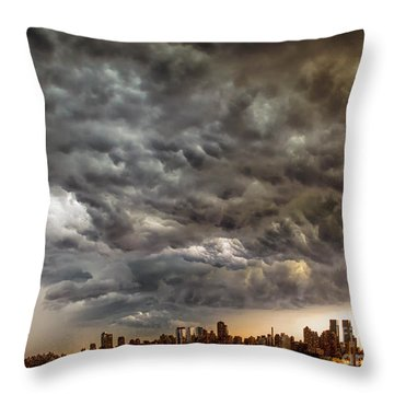 Storm Coulds Over Nyc Throw Pillow by Jerry Fornarotto