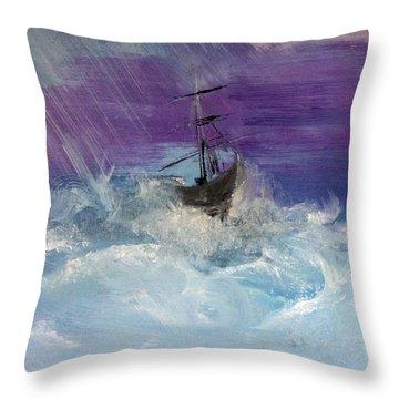 Stormy Seas Throw Pillow by Lisa Kaiser