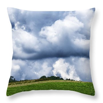 Stormy Sky And Barn Throw Pillow by Thomas R Fletcher