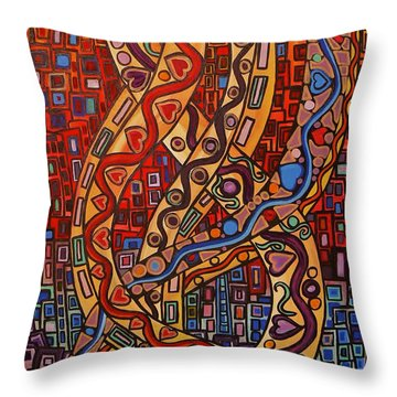 Story Lines Throw Pillow by Barbara St Jean