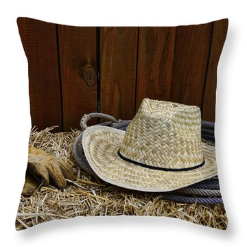 Straw Hat  On  Hay Throw Pillow by Paul Ward