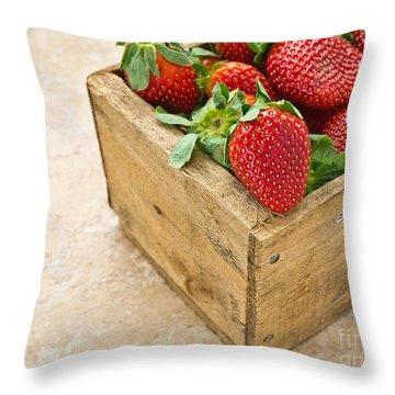 Strawberries Throw Pillow by Edward Fielding