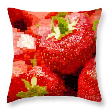Strawberry Mosaic Throw Pillow by Anne Gilbert