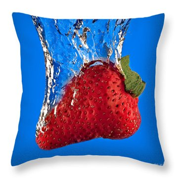 Strawberry Slam Dunk Throw Pillow by Susan Candelario