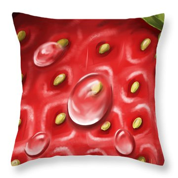 Strawberry Throw Pillow by Veronica Minozzi
