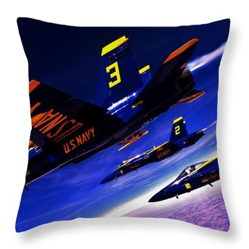 Streaking Blues Throw Pillow by Benjamin Yeager