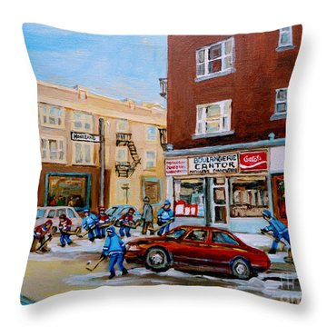 Street Hockey On Monkland Avenue Paintings Of Montreal City Scenes Throw Pillow by Carole Spandau