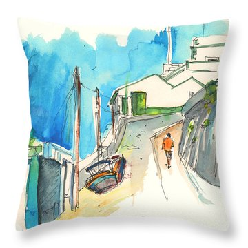 Street In Ericeira In Portugal Throw Pillow by Miki De Goodaboom