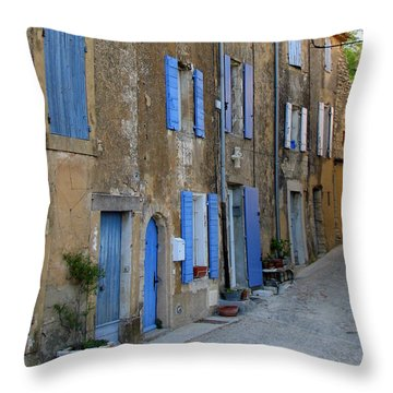 Street Scene In Provence Throw Pillow by Carla Parris