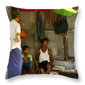 Street Seller Sitting In The Shade Under An Umbrella Yangon Myanmar Throw Pillow by Ralph A  Ledergerber-Photography