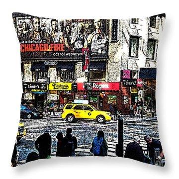 Streets Of Manhattan 20 Throw Pillow by Mario Perez