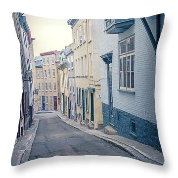Streets Of Old Quebec City Throw Pillow by Edward Fielding