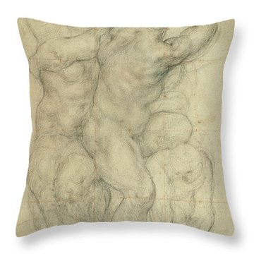 Study For A Group Of Nudes Throw Pillow by Jacopo Pontormo