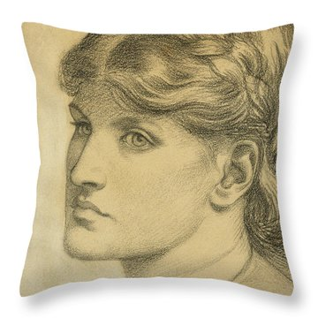 Study Of A Head For The Bower Meadow Throw Pillow by Dante Charles Gabriel Rossetti