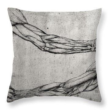 Study Of Arms Throw Pillow by Leonardo Da Vinci